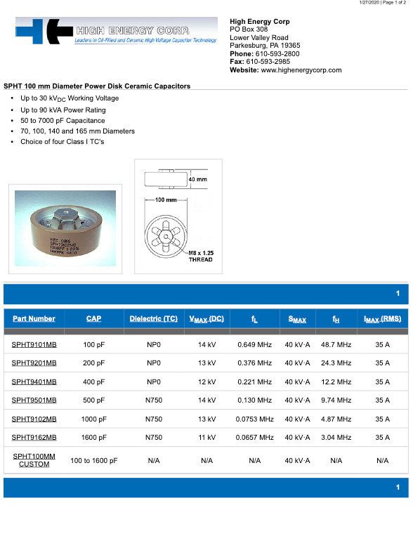 High Energy Corp. SPHT 100 Series