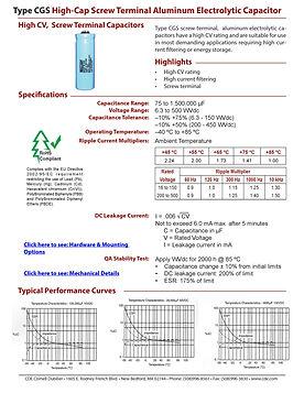 CDE Type CGS Aluminum Electrolytic Capacitors