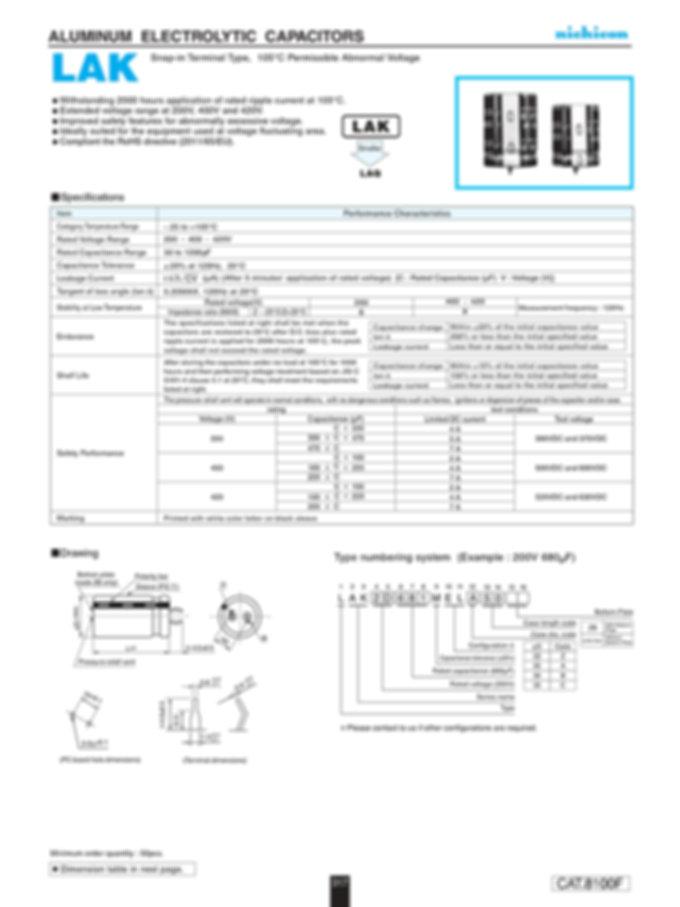 Nichicon LAK Series Aluminum Capacitors