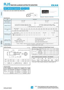 Elna RJ5 Series Aluminum Electrolytic Capacitors