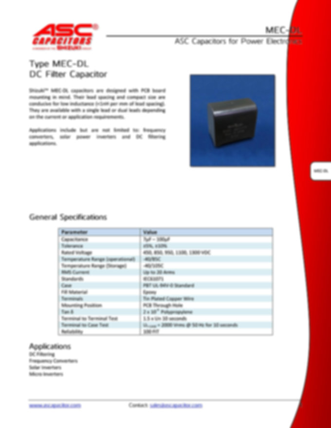 ASC MEC-DL Series Film Capacitors