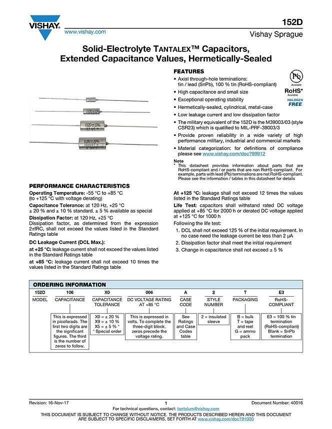 Vishay 152D Series Tantalum Capacitors