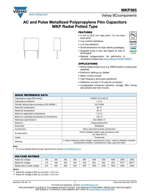 Vishay MKP385 Series Plastic Film Capacitors