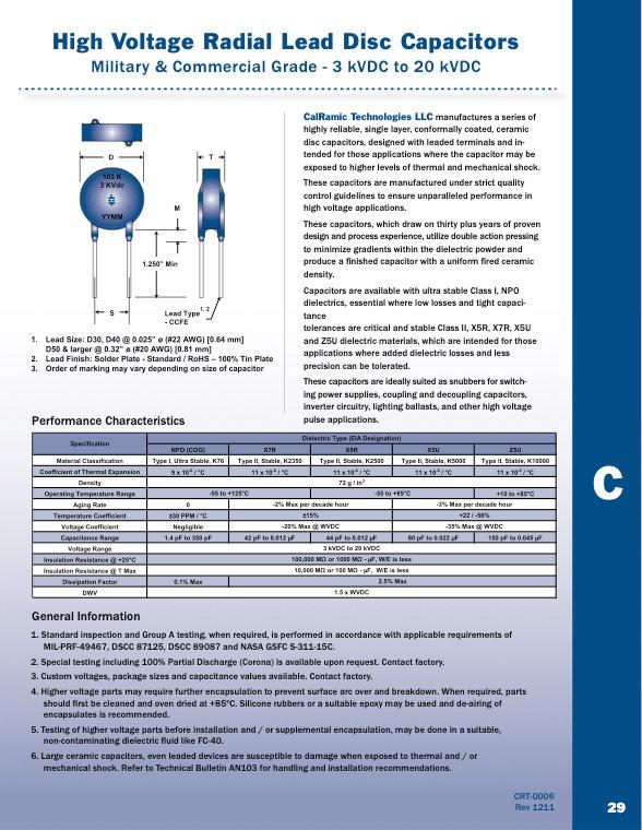 Calramic Commercial And Military Grade High Voltage Ceramic Disc Capacitors