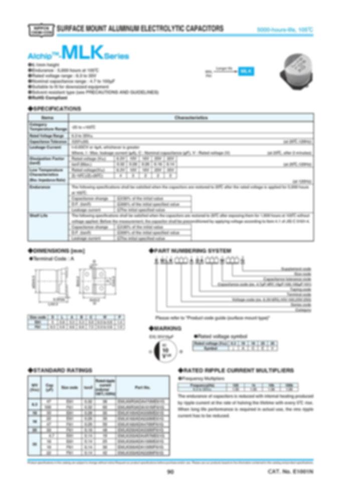 Nippon Chemi Con MLK Series Aluminum Electrolytic Capacitors