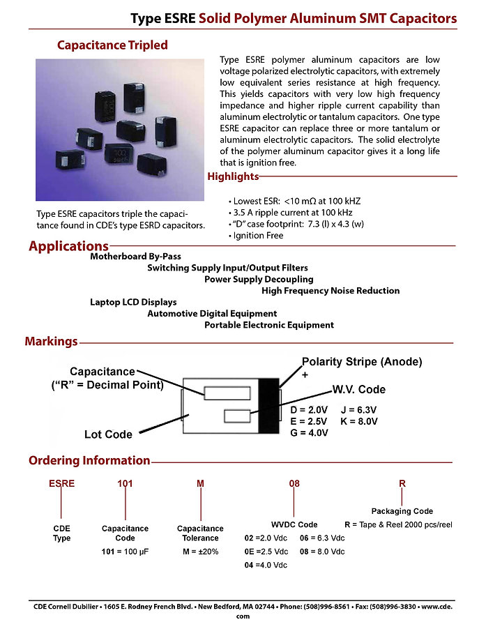 CDE Type ESRE Solid Aluminum Polymer Chip Capacitors
