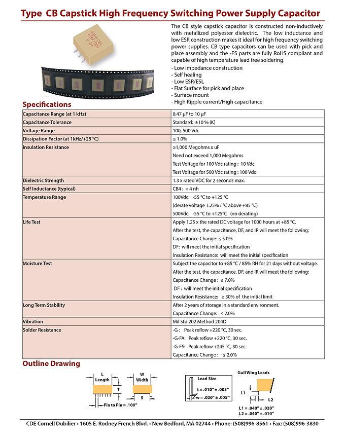 CDE Type CB Plastic Film Capacitors