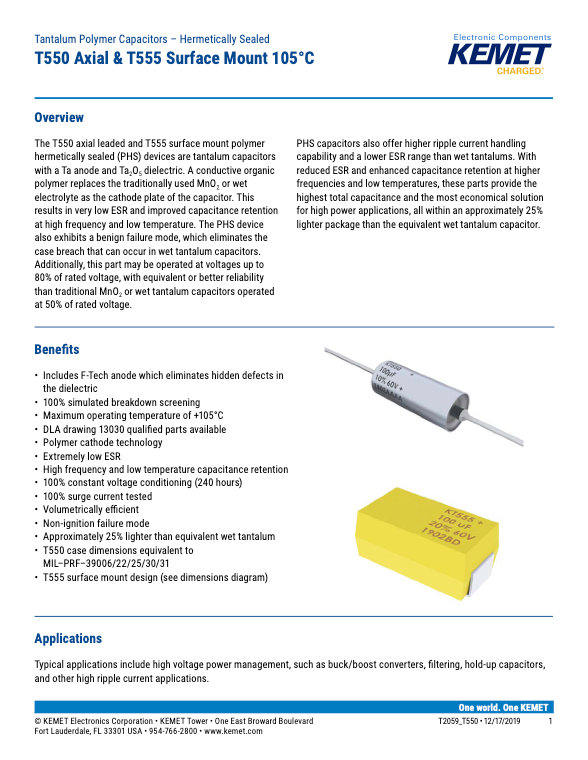 KEMET T550_T555 Series Tantalum Capacitors