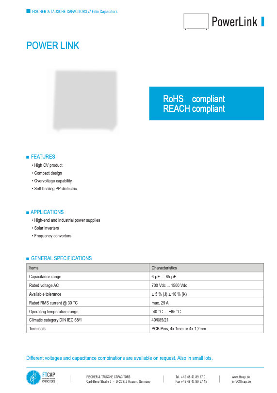 Fischer & Tausche Powerlink Film Capacitors