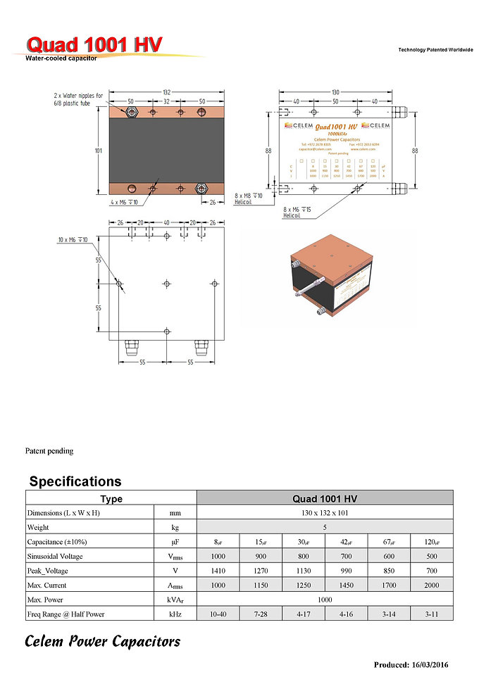 Celem Quad 1001 HV Series Film Capacitors