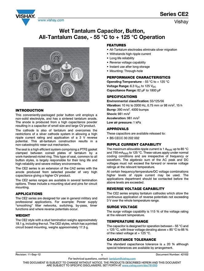 Vishay CE2 Series Wet Tantalum Capacitors