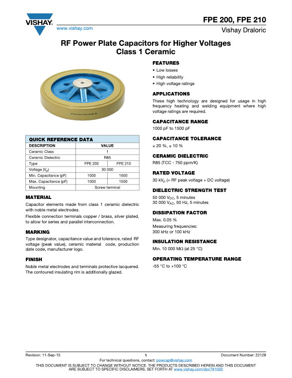 Vishay FPE 2.. Series RF Power Ceramic Capacitors