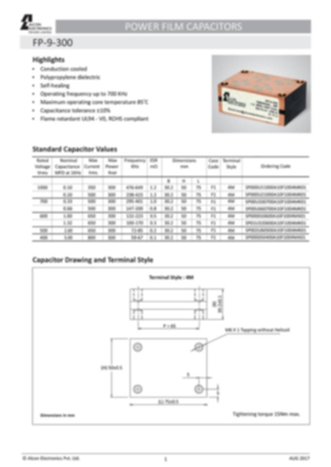 Alcon Electronics FP-9-300 Series Film Capacitors