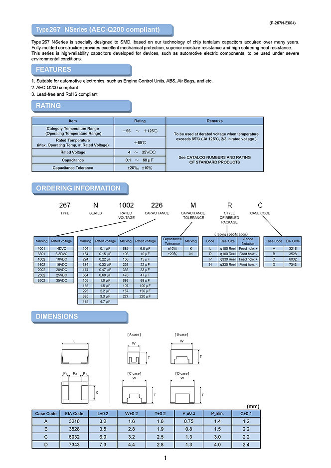 Matsuo 267N (AEC) Series SMT Tantalum Capacitors