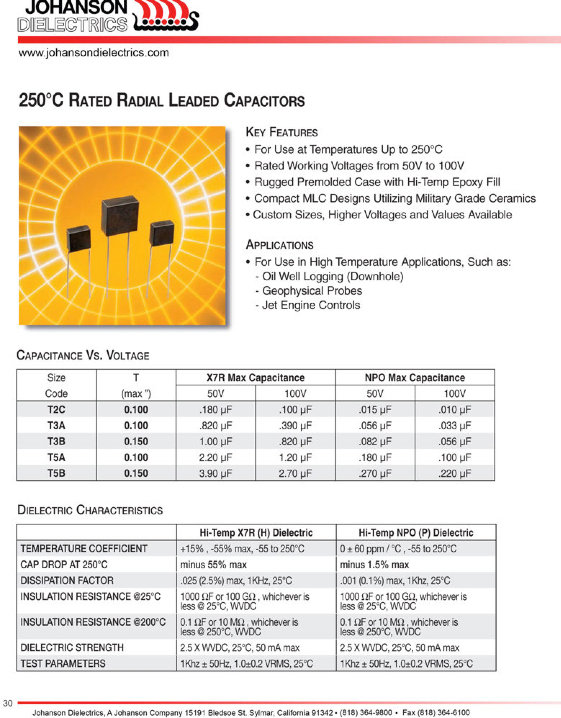 JDI 250°C Radial MLC Capacitors