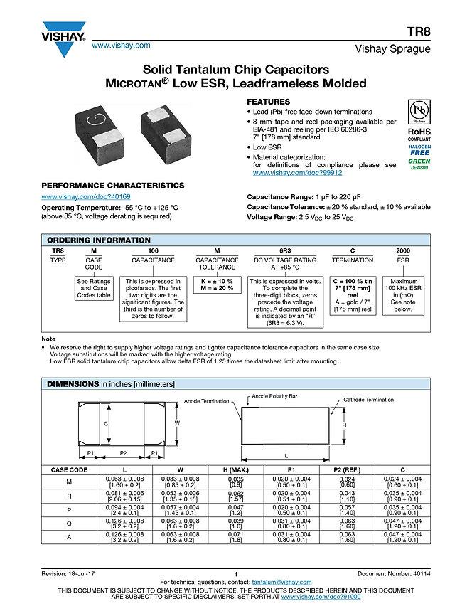 Vishay TR8 Series Tantalum Capacitors