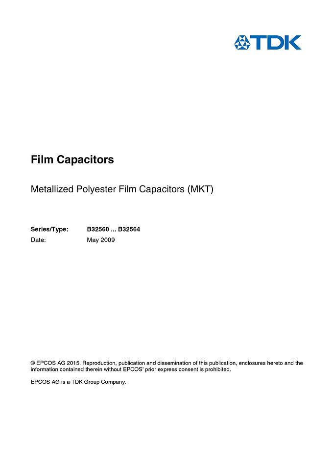 Epcos B32560 Series Metallized Polyester Capacitors