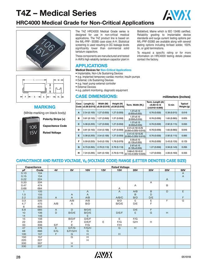 AVX T4Z HRC4000 Series Tantalum Capacitors