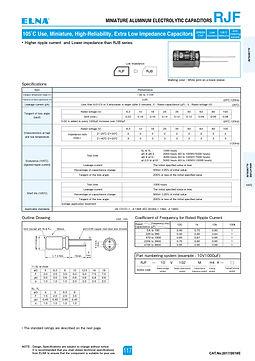 Elna RJF Series Aluminum Electrolytic Capacitors