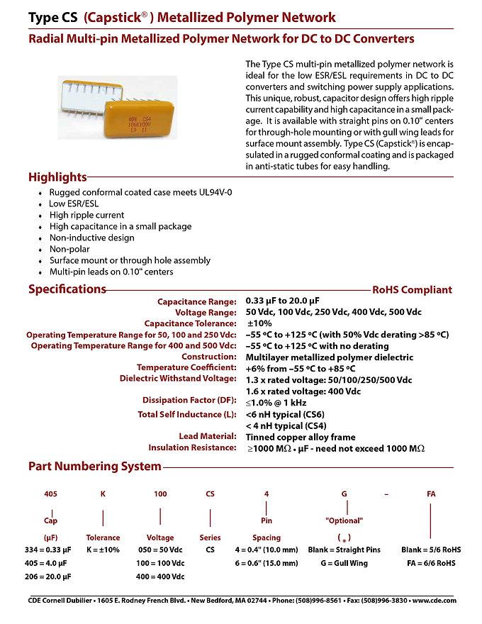 CDE Type CS Plastic Film Capacitors