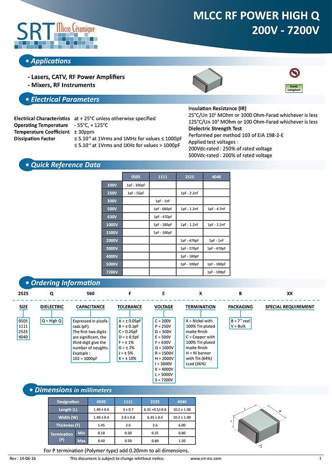 SRT Microceramique High Q High RF Power MLC Capacitors