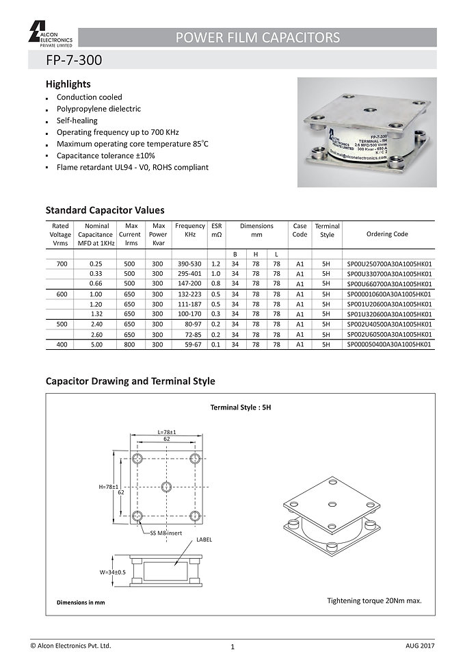 Alcon Electronics FP-7-300 Series Film Capacitors