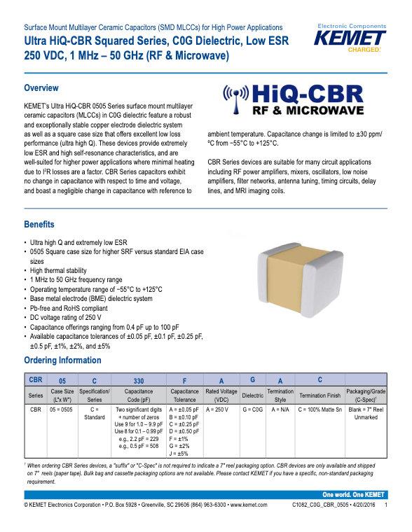 KEMET Ultra Hiq CBR Multilayer Ceramic Capacitors