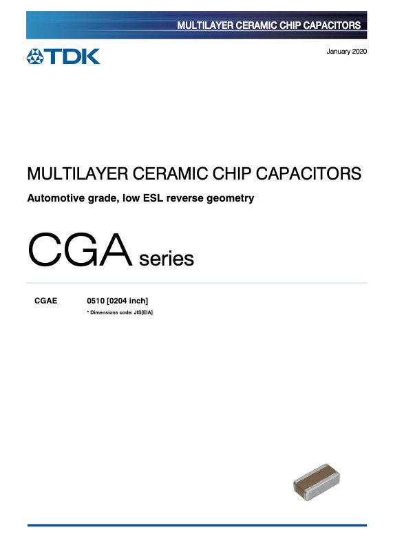TDK CGA Series Reverse Geometry Auto Grade MLCCs