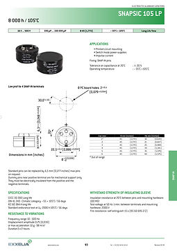 SIC SAFCO SNAPSIC 105 LP Series Snap In Aluminum Electrolytic Capacitors