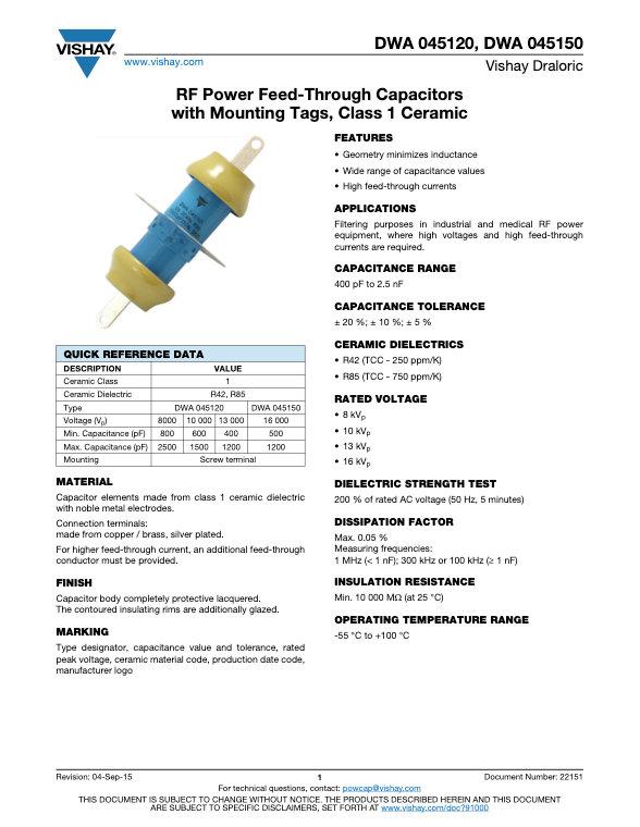 Vishay DWA 0451... Series RF Power Ceramic Capacitors