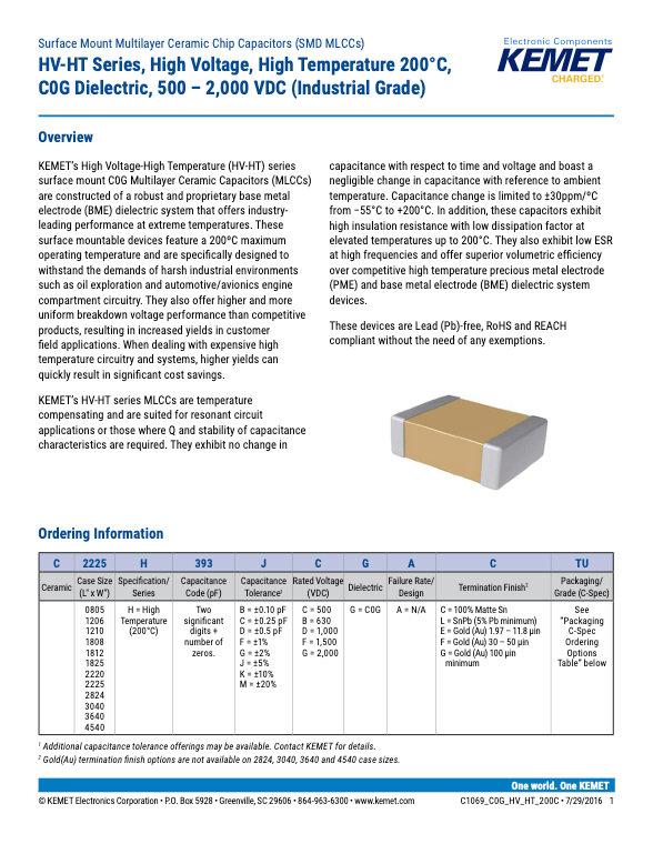 KEMET HV HT Series MLC Capacitors