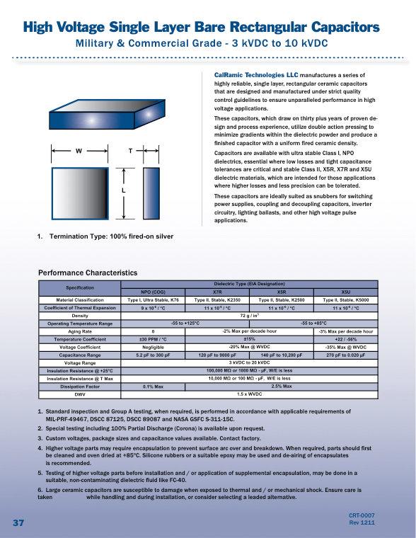 Calramic Bare Rectangular High Voltage Ceramic Capacitors