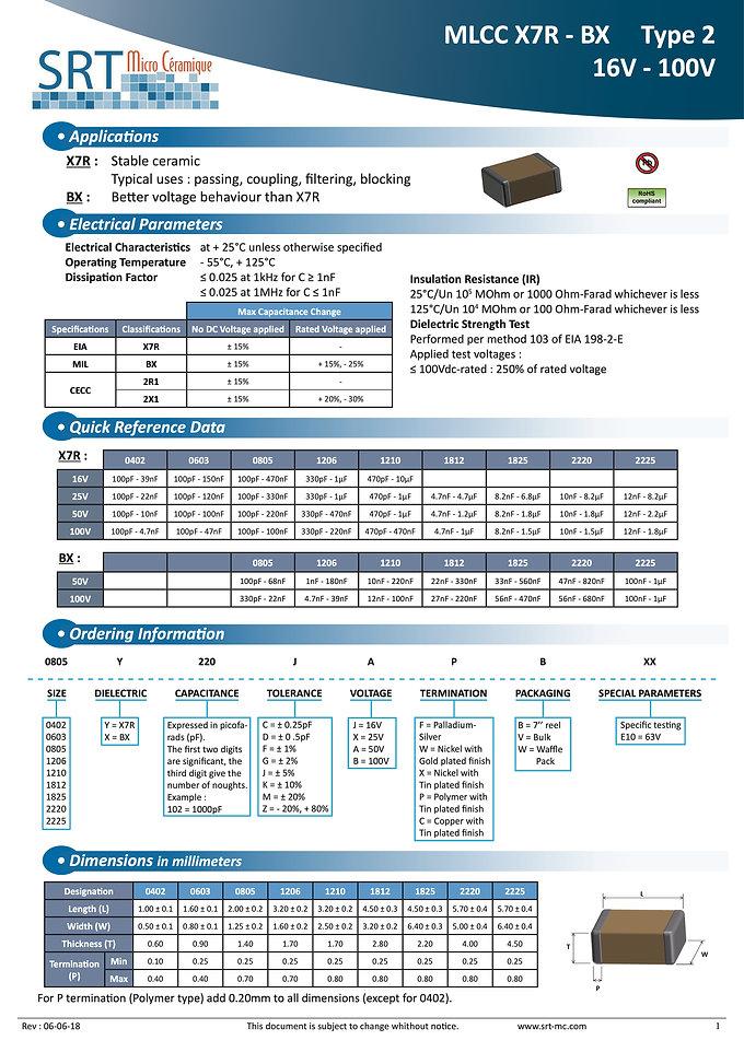 SRT Microceramique X7R-BX Type 2 Series
