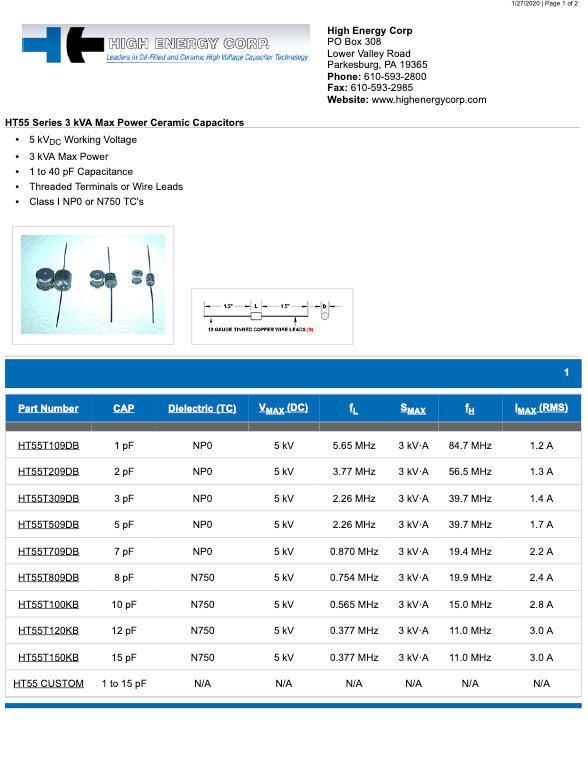 High Energy Corp. HT55 Series