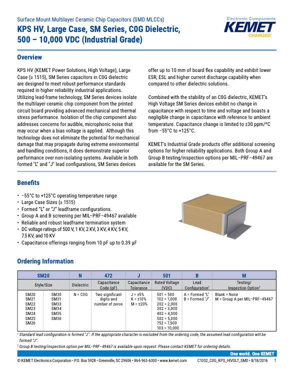 KEMET KPS HV SM Series COG MLC Capacitors