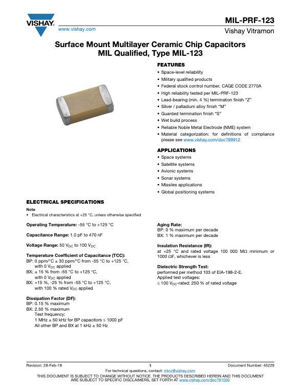 Vishay MIL PRF 123 Series MLC Capacitors
