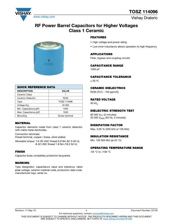 Vishay TOSZ 114096 Series RF Ceramic Capacitors