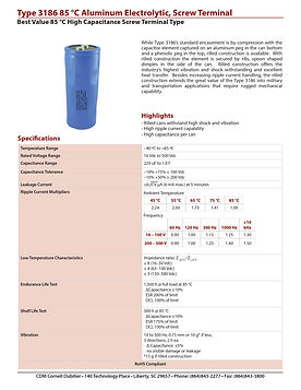 CDE Type 3186 Screw Terminal Aluminum Electrolytic Capacitors