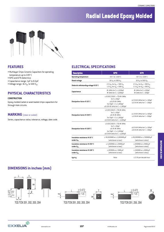 Exxelia TCN Series Molded MLC Capacitors