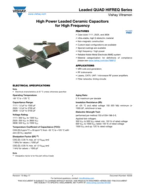 Vishay LEADED QUAD HIFREQ Series MLC Capacitors