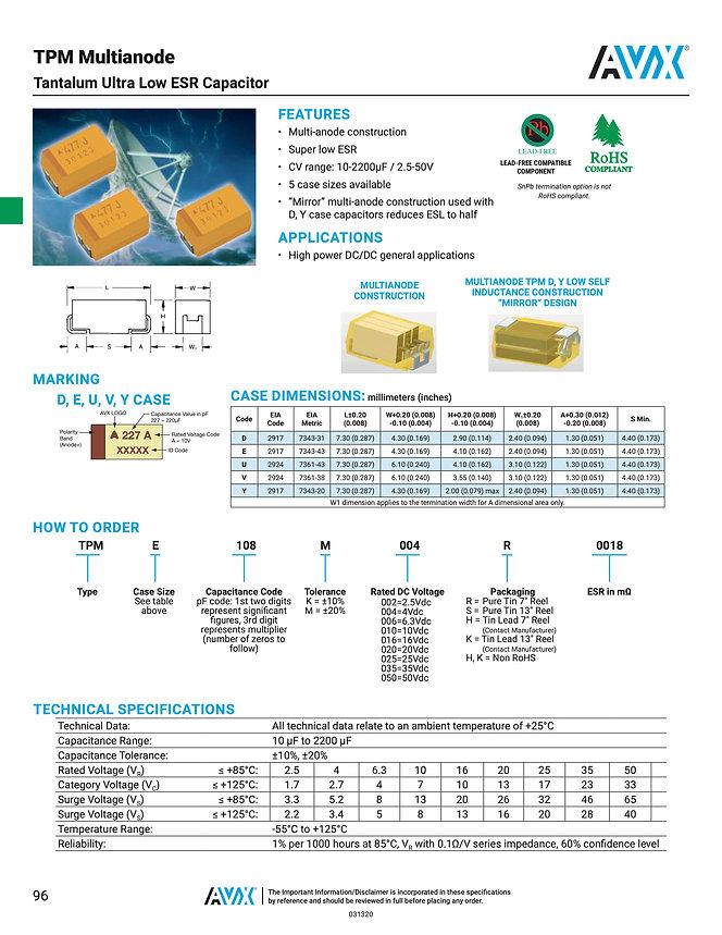 AVX TPM Series Tantalum Capacitors