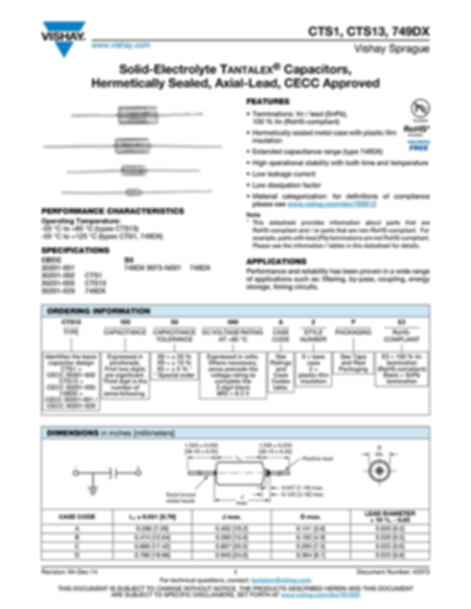 Vishay 749DX Series Tantalum Capacitors