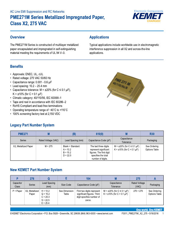 KEMET PME271M Series Plastic Film Capacitors