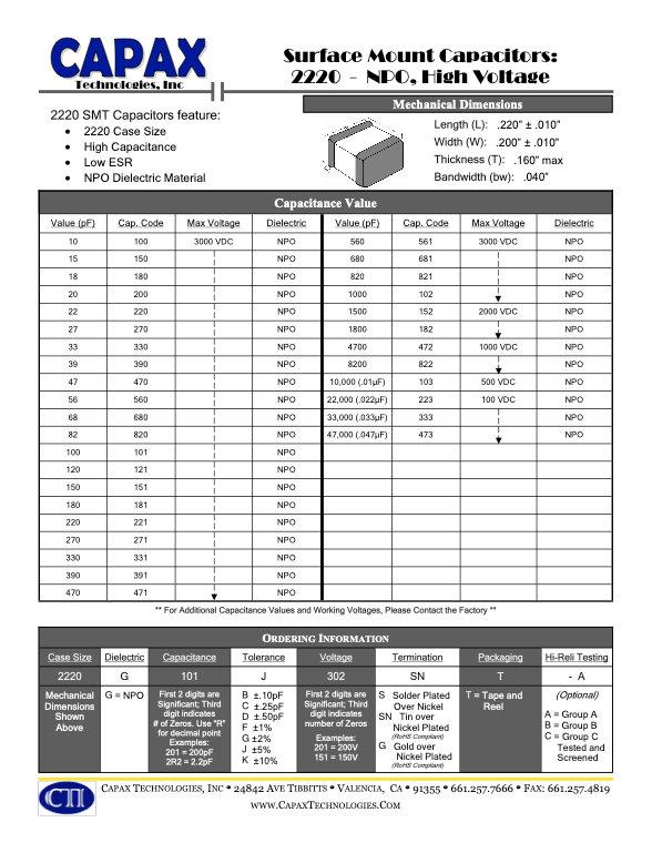 Capax 2220 NPO SMT Multilayer Ceramic Capacitors