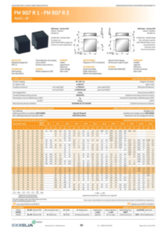 Exxelia PM 907 R1/R2 Series Film Capacitors