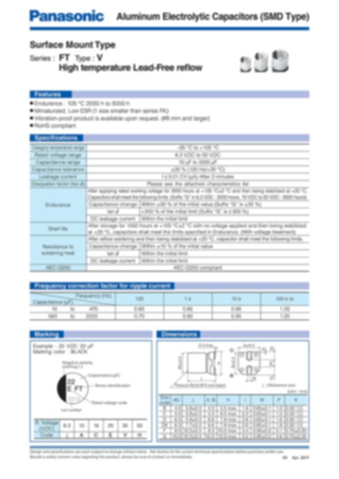 Panasonic FT V (High Temp. Reflow) Series Aluminum Capacitors