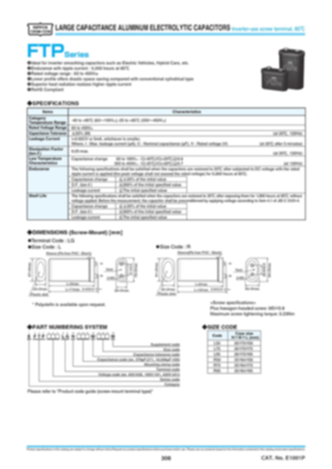 Nippon Chemi Con FTP Series Aluminum Electrolytic Capacitors