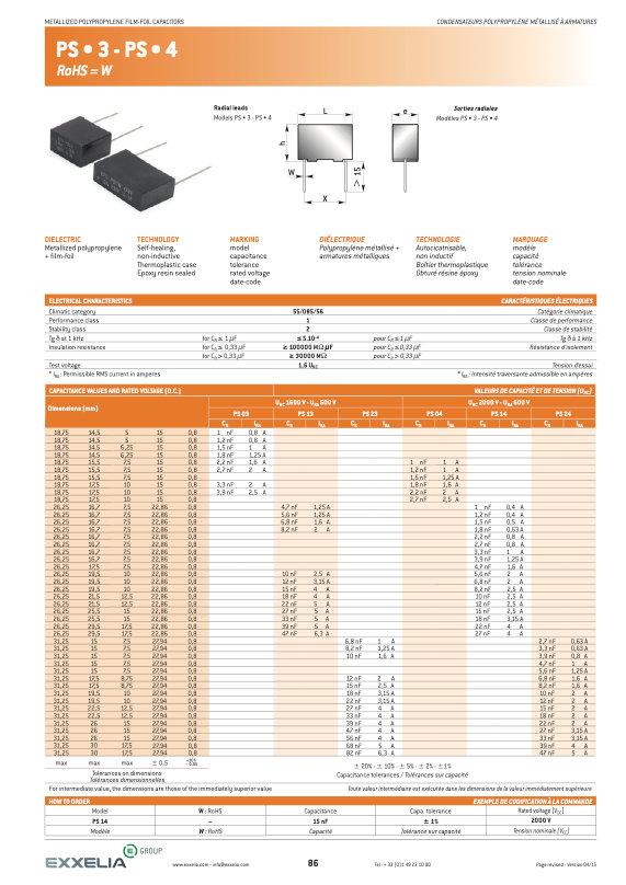 Exxelia PS * 3/4 Series Film Capacitors