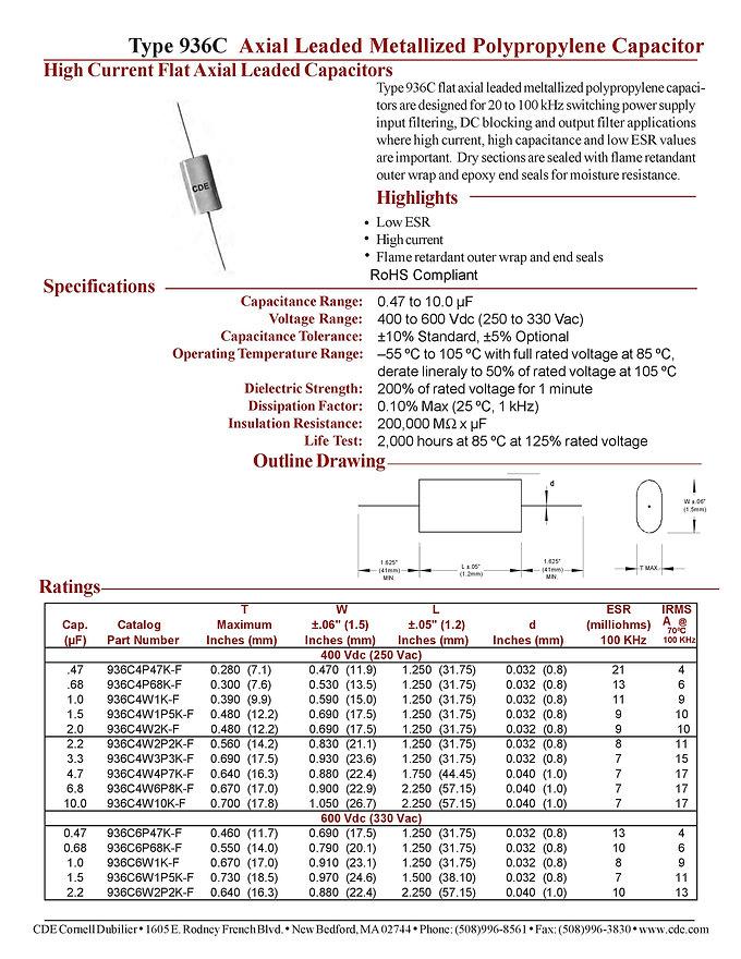 CDE Type 936C Plastic Film Capacitors