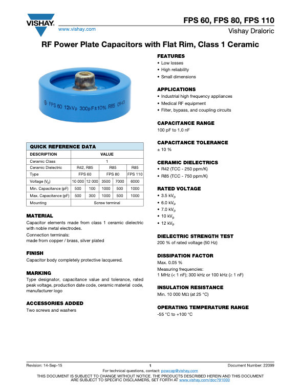 Vishay FPS... Series RF Power Ceramic Capacitors